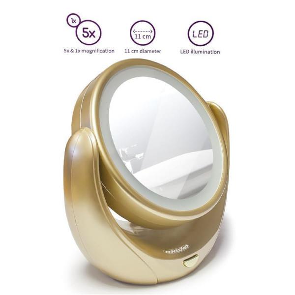 Mesko Kosmetikspiegel LED Beleuchtung 5-fach Vergrößerung 360° drehbar