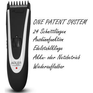 Adler 2in1 Haarschneider Set Aufsatz für 1-24mm zusätzliche Ausdünnfunktion Nasenhaartrimmer