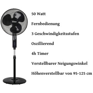 Zilan Standventilator Ø 41 cm mit Fernbedienung 50...