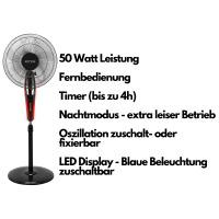 Echos Standventilator Ø 41 cm mit Fernbedienung oszilierend 45 Watt