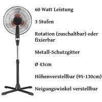 Zilan Standventilator Ø43 cm 6x Rotorblätter oszilierende 60 Watt