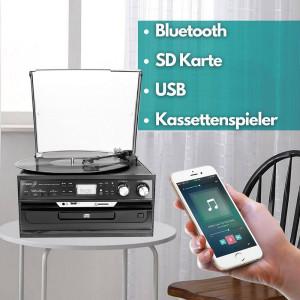 Cyberlux Plattenspieler mit Aufnahmefunktion CD/MP3 USB/SD Schwarz