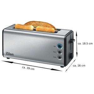 Zilan Edelstahl Langschlitz XXL Toaster Krümmelschublade 1300 Watt
