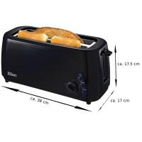 Zilan Langschlitz Toaster XXL Krümmelschublade 1400 Watt Schwarz