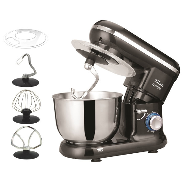 Zilan Küchenmaschine 6 Geschwindigkeitsstufen Pulsfunktion 4,5 Liter 1000 Watt