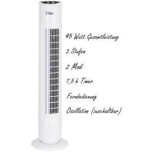 Zilan Turmventilator mit Fernbedienung 3 Stufen 2 Modi...