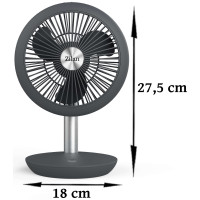 Zilan Tischventilator Akkubetrieben 4 Geschwindigkeitsstufen 5 Watt