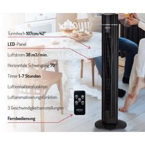 Camry Turmventilator mit Fernbedienung 3 Modi Timer oszillierend 60 Watt