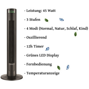 Zilan Turmventilator mit Fernbedienung 45 Watt