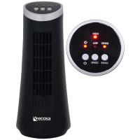 Ecosa Turm Tischventilator oszillierend 15 Watt Schwarz