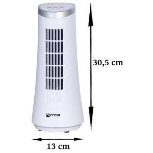 Ecosa Turm Tischventilator oszillierend 15 Watt Weiß