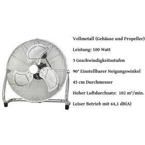 Zilan Bodenventilator Ø 35 cm 3 Geschwindigkeitsstufen 50 Watt