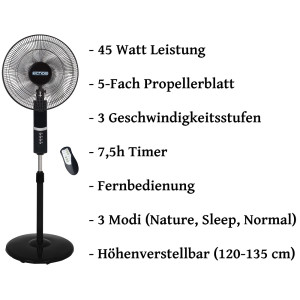 Echos Standventilator Ø 41 cm mit Fernbedienung LED Display Timer oszillierend 45 Watt