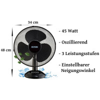 Echos Tischventilator Ø ca. 31 cm oszillierend 45 Watt
