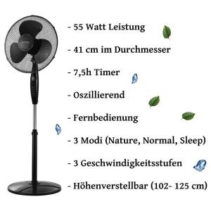 Echos Standventilator Ø 41 cm Timer oszillierend 3...
