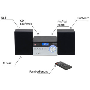 Camry Stereoanlage USB Fernbedienung CD/MP3 Bluetooth