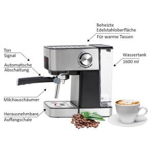 Camry Espresso Maschine mit Milchaufschäumer 15 Bar...