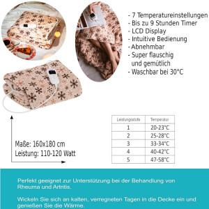 Camry Heizdecke 9h Timer 7 Temperatureinstellungen 180 x 160 cm