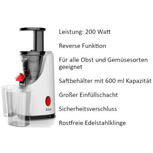 Zilan Entsafter Saftbehälter mit 600 ml  200 Watt