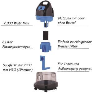 Zilan Wasserstaubsauger Grau Nass/Trocken | inklusive 2...