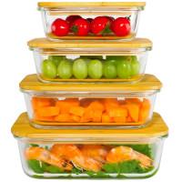 Ecosa 4-Teiliges Frischhaltedosenset Aufbewahrungsboxen Glasbehälter
