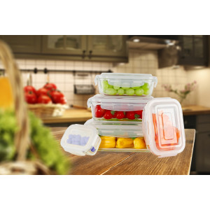 Ecosa 5-Teiliges Frischhaltedosenset Aufbewahrungsboxen Glasbehälter