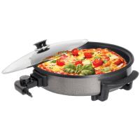 Zilan Pizzapfanne hitzebeständigem Glasdeckel mit Dampfaustritt 1500 Watt