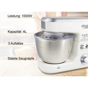 Adler Küchenmaschine 6 Geschwindigkeitsstufen 4 Liter 1000 Watt